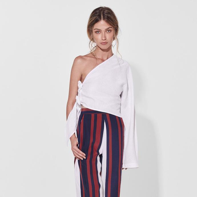 "**SIR:**   **What was the one piece that propelled [Sir](https://sirthelabel.com/|target=""_blank"") into the limelight?** *""Sir launched in Resort 2014 with a capsule collection that included a small linen story including the [Brooke top](https://sirthelabel.com/collections/tops/products/brooke-long-sleeve-one-shoulder?variant=40349406862