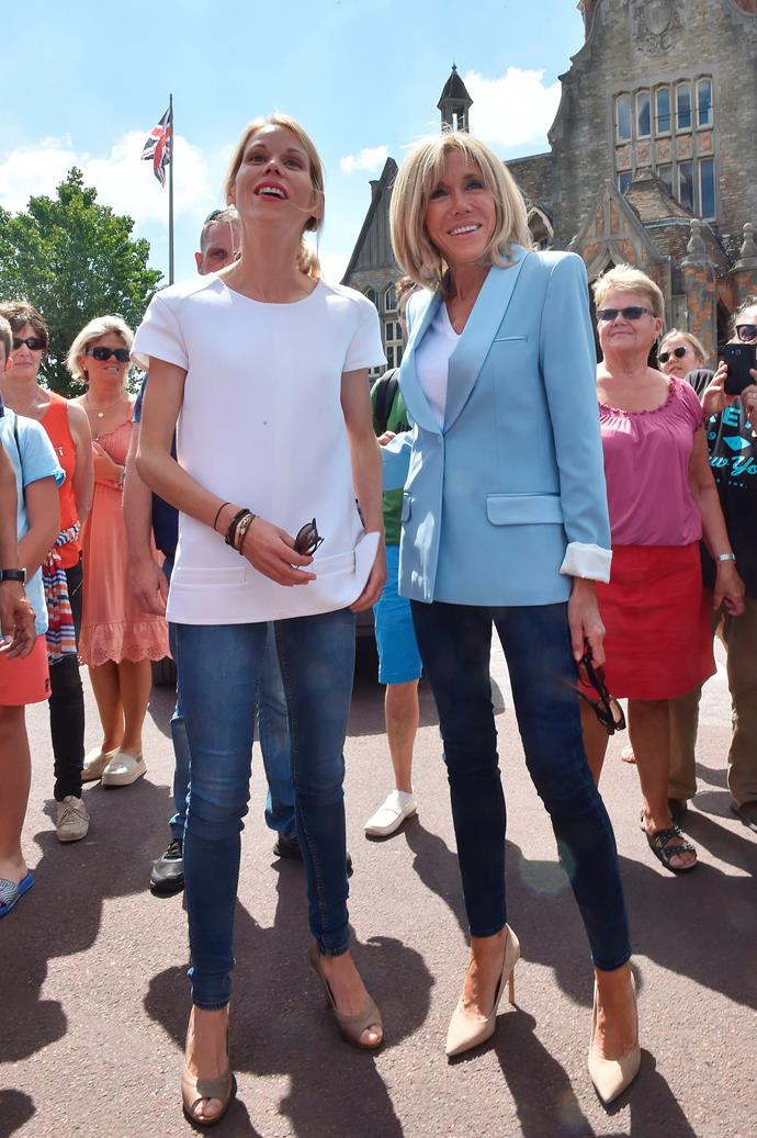 In a powder blue blazer, blue jeans and nude pumps to vote in the French parliamentary elections.