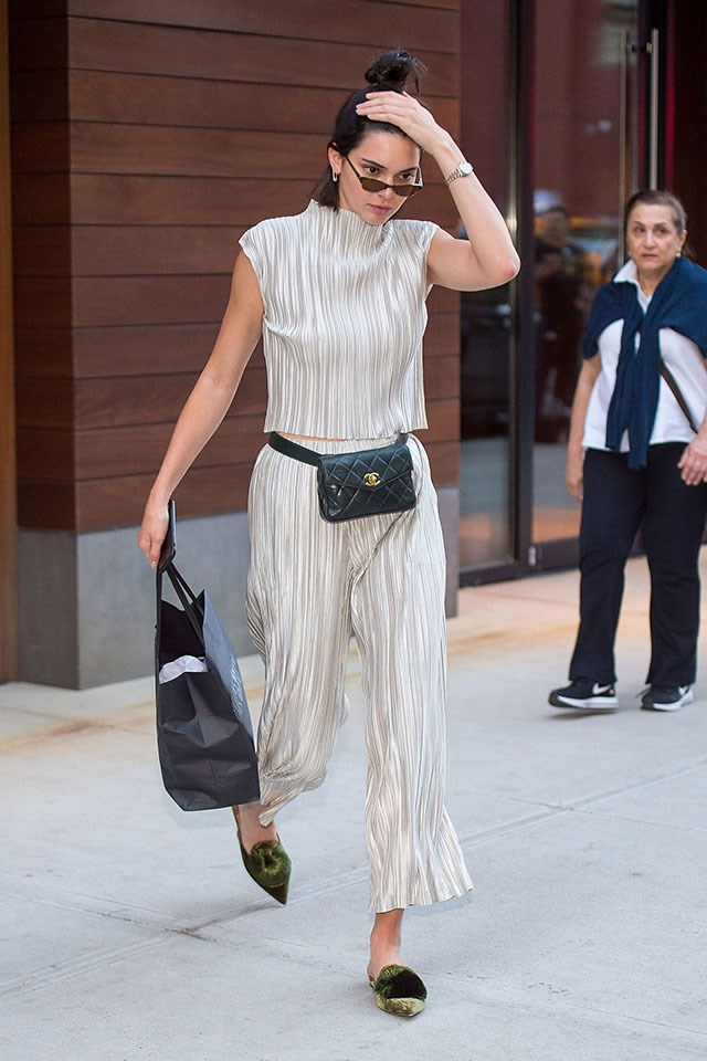 A Chanel beltbag adds adult sophistication to the accessory, as seen here on Kendall Jenner.