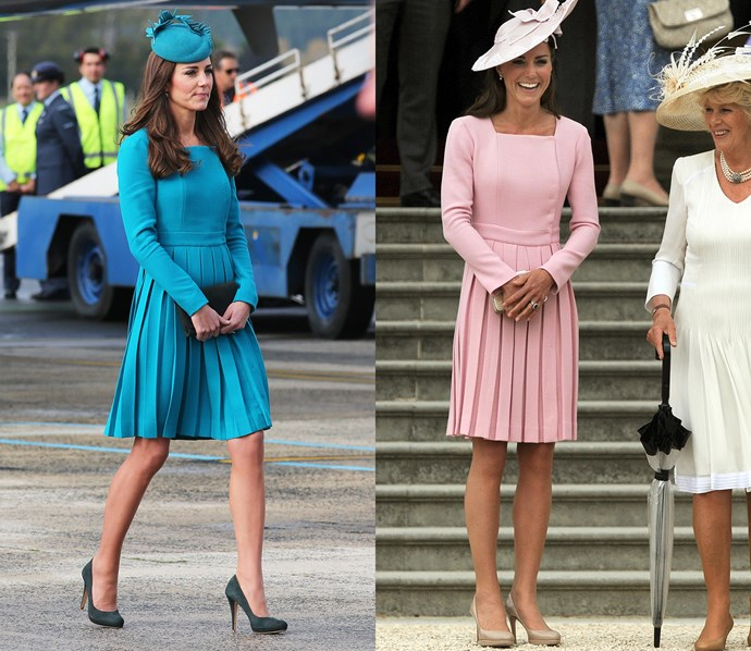 Kate had this custom Emilia Wickstead dress made in blue and pink.
