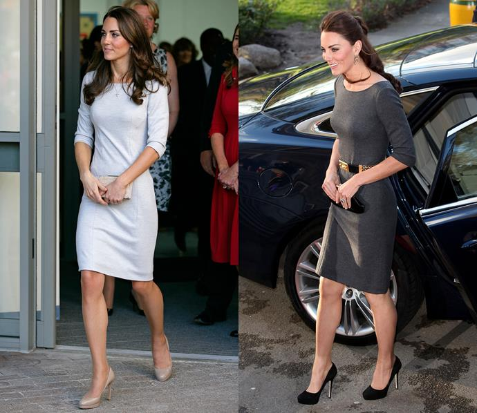 The Duchess wore this Amanda Wakeley dress in both light grey and gunmetal.