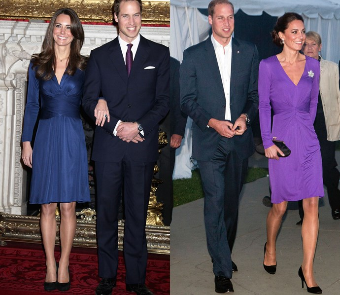 For her 2011 tour of Canada, Kate wore a purple version of her now-iconic engagement dress, by Issa.
