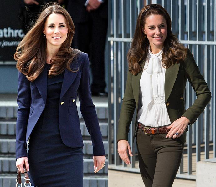 Aside from dresses, Kate also owns this Smythe blazer (aptly called 'The Duchess blazer') in both navy and olive green.