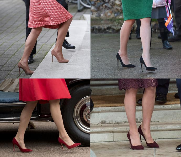We think these might be her favourite shoes! Kate owns the Rupert Sanderson 'Malory' pumps in four colours: nude, black, plum and red.
