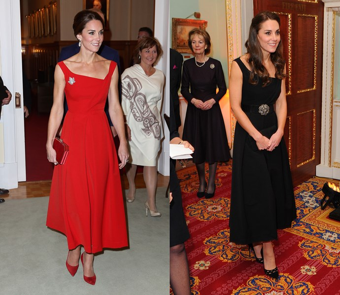 Kate owns this stylish Preen number in two colours—red and black.  Buy the dress on sale at [Net-A-Porter](https://www.net-a-porter.com/au/en/product/848609) in either red or blue.