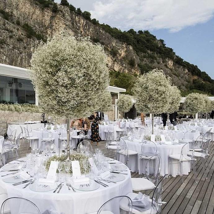 The reception was held at a five-star resort in Portopiccolo called Hotel Falisia.   Image: [@idoweddingsng](https://www.instagram.com/p/BVkpACiFLyU/)
