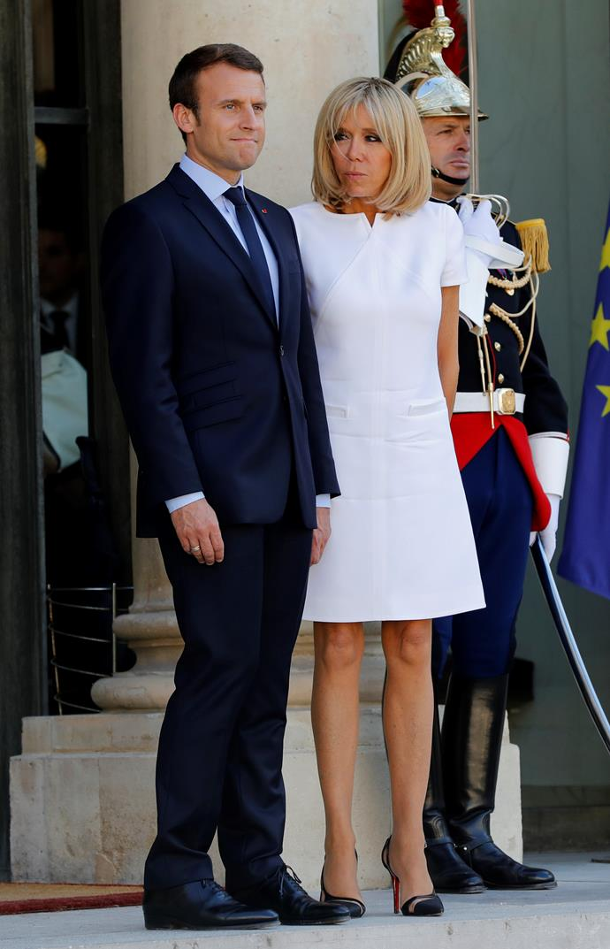 At the Elysee palace after escorting Guatemala's President with husband Emmanuel Macron.