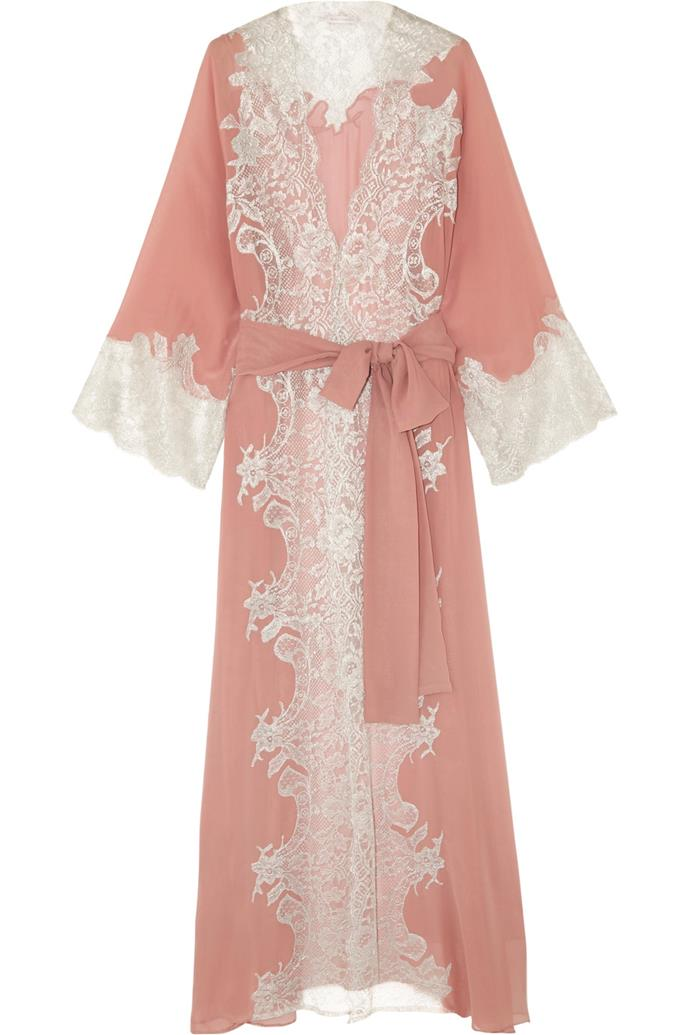 Sweet Sumatra metallic lace-trimmed silk-georgette robe, $1,302, Rosamosario at [Net-a-Porter](https://www.net-a-porter.com/au/en/product/804301/Rosamosario/sweet-sumatra-metallic-lace-trimmed-silk-georgette-robe)