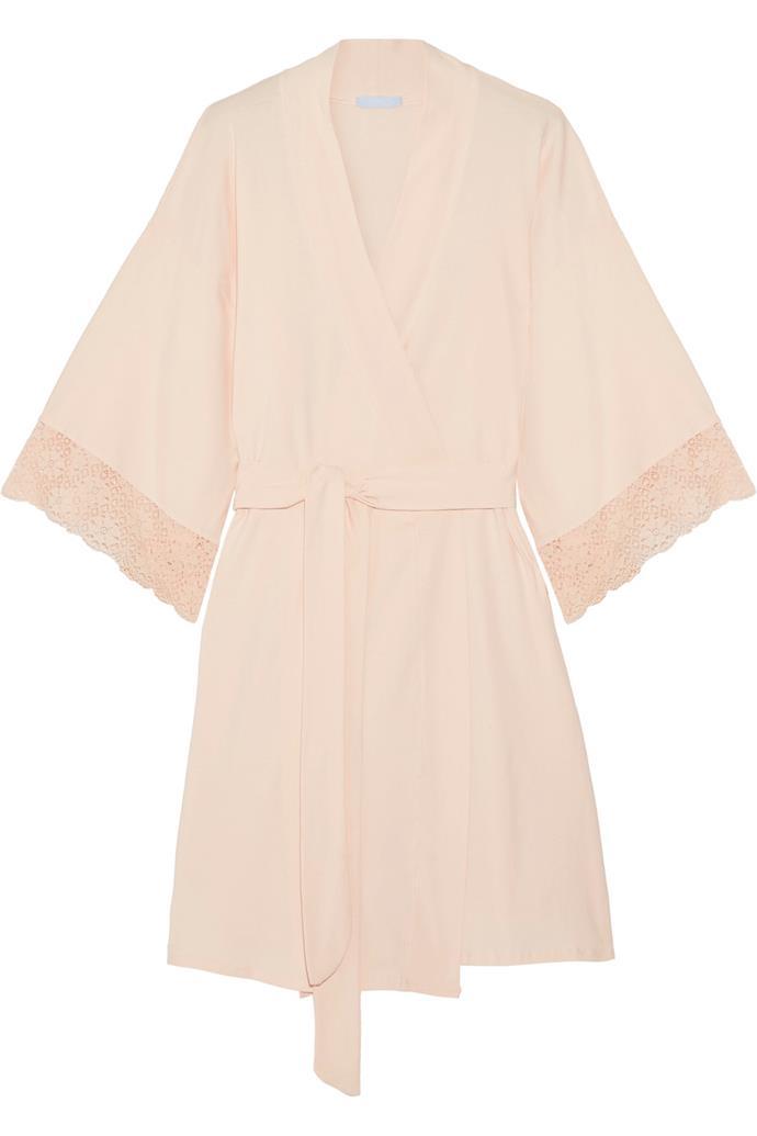 Zelia lace-trimmed stretch-cotton robe, $140, Eberjey at [Net-a-Porter](https://www.net-a-porter.com/au/en/product/833618/Eberjey/zelia-lace-trimmed-stretch-cotton-robe)