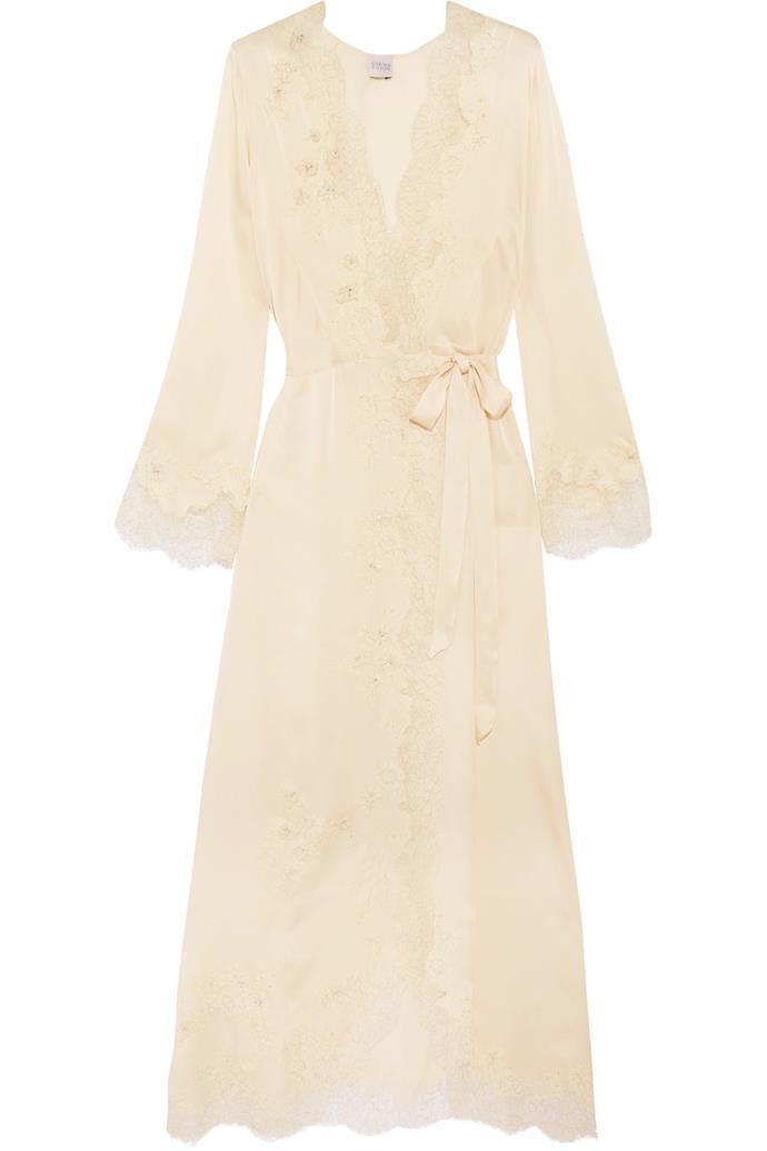 Chantilly lace-trimmed silk-satin robe, $4,353, Carine Gilson at [Net-a-Porter](https://www.net-a-porter.com/au/en/product/864501/Carine_Gilson/chantilly-lace-trimmed-silk-satin-robe)