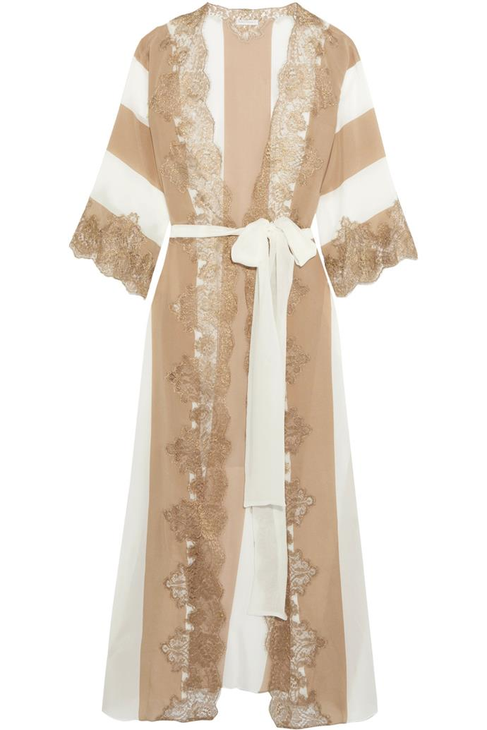Emiro Love Metallic Lace-Trimmed Crepe De Chine Robe, $913, Rosamosario at [Net-a-Porter](https://www.net-a-porter.com/au/en/product/897191/Rosamosario/emiro-love-metallic-lace-trimmed-crepe-de-chine-robe)
