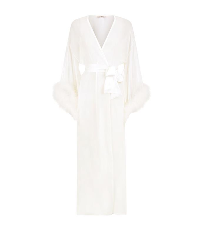 Diana Marabou Long Silk Robe, $1,033, Gilda & Pearl at [Harrod's](https://www.harrods.com/en-gb/gilda-and-pearl/diana-marabou-long-silk-robe-p000000000005237009)