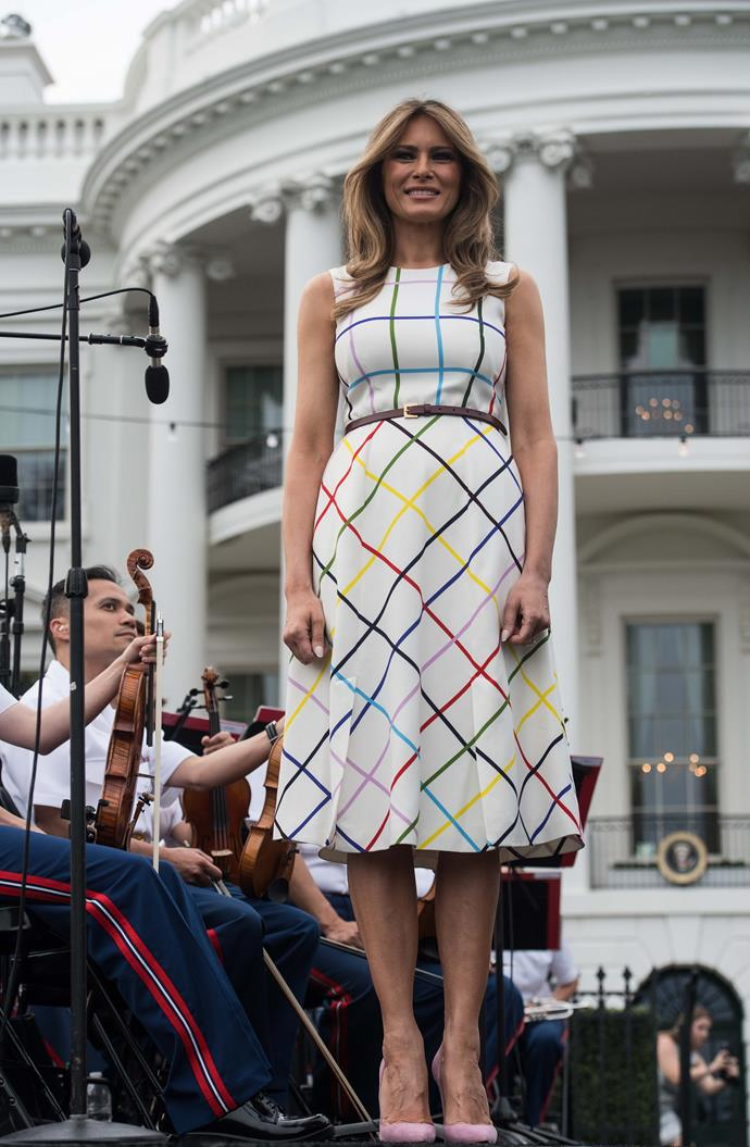In a graphic dress at the Congressional Picnic.