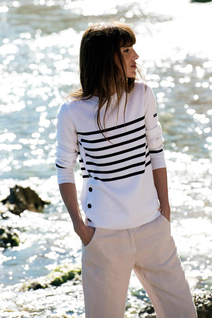 **SAINT JAMES**  Saint James was the first label to make Breton tops on a large scale, starting with sailors and fishermen in Northern France. Nearly 100 years later, its classic Breton tops and knitwear are just as desirable now as.  ***Saint-James.co.uk***