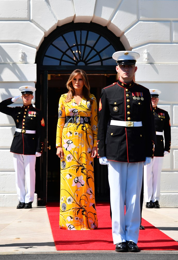 Trump wore an eye-grabbing Pucci dress to meet the Indian Prime Minister.