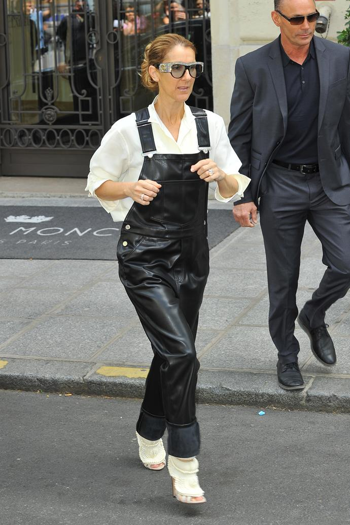 In Givenchy leather overalls, Kanye x Giuseppe Zanotti heels and a Céline blouse.