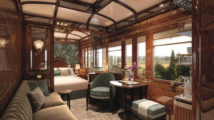 **[The grand suite aboard the Venice Simplon-Orient-Express](www.belmond.com)**   Launching in March 2018, the private suites aboard this historic train allow you to take in the Parisian countryside from your queen-sized bed.    A one night journey from London to Venice in a Grand Suite is priced at $9213.05 per person.