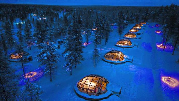 **[Glass Igloos, Hotel Kakslauttanen, Finland](http://www.kakslauttanen.fi/en/accommodation/)**   From $221 a night.   View the northern lights through the glass rooftops of these unique igloo-shaped studios.  The four-person domes are available to book from mid-August through to the end of April.