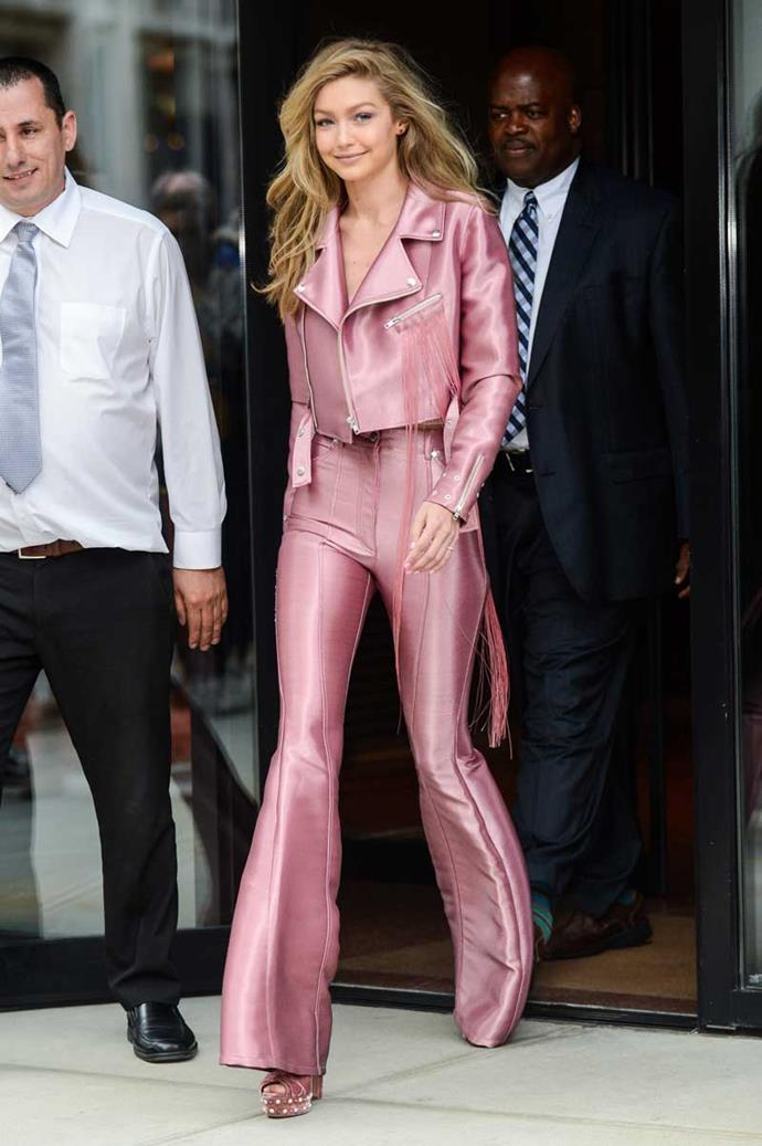 Gigi channelled Elle Woods in a head-to-toe millennial pink set, looks absolutely flawless.