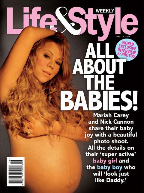 **Mariah Carey (2011)** <br><br The singer posed while pregnant with twins for the April 2011 cover shoot of *Life & Style*.