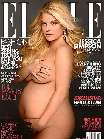**Jessica Simpson (2012)** <br><br> Following in the footsteps of other pop artists Spears and Aguilera, Jessica Simpson posed nude for the April 2012 issue of *ELLE* U.S. while pregnant with her daughter, Maxwell.