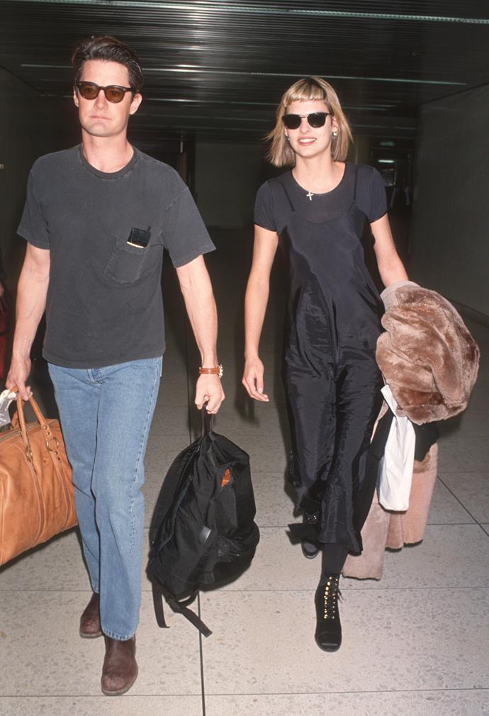 Linda Evangelista with then-boyfriend Kyle MacLachlan
