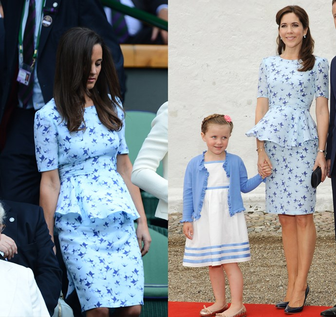 Pippa (or should we say Lady Philippa?) and Princess Mary both wore this blue Project D dress.