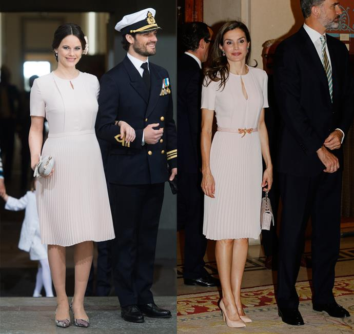 Both Princess Sofia of Sweden and Queen Letizia of Spain wore this pale pink Boss dress.