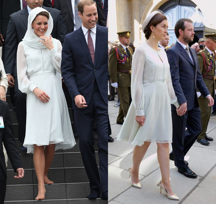 Kate had a twin moment with Princess Claire of Luxembourg in Beulah London.