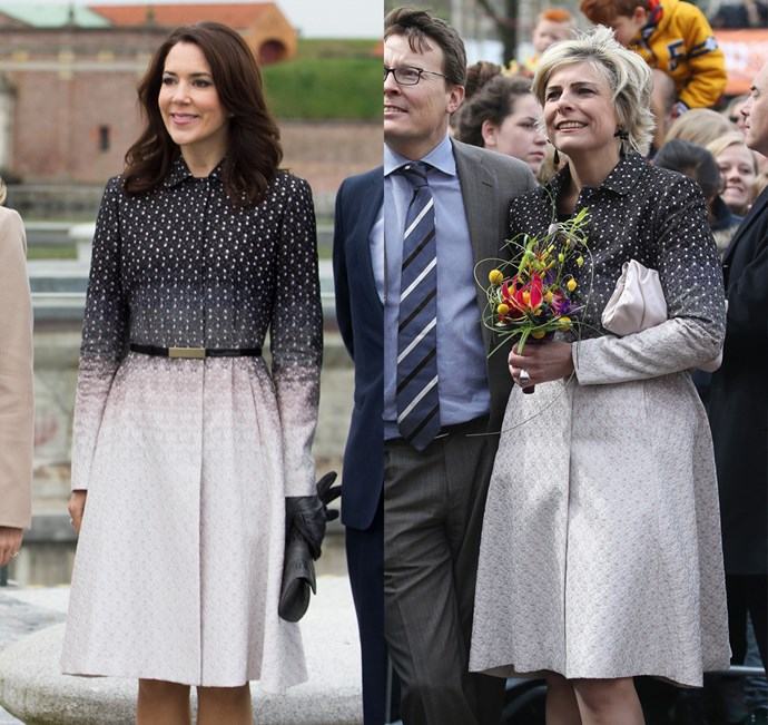 Princess Mary of Denmark and Princess Laurentien of the Netherlands wore this Missoni printed coat.