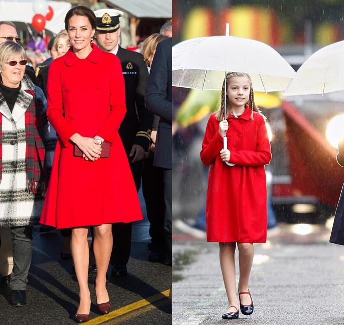 The Duchess of Cambridge had a very mini-royal snap with little Princess Leonor of Spain, who wore the same Carolina Herrera coat as her.