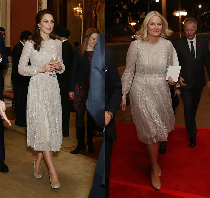 This glittery Oscar de la Renta dress is a favourite of both the Duchess of Cambridge and Princess Mette-Marit of Norway.