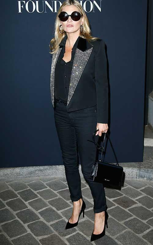 Kate Moss stepped out wearing a Saint Laurent-approved disco jacket in Paris for haute couture fashion week Autumn Winter '17.