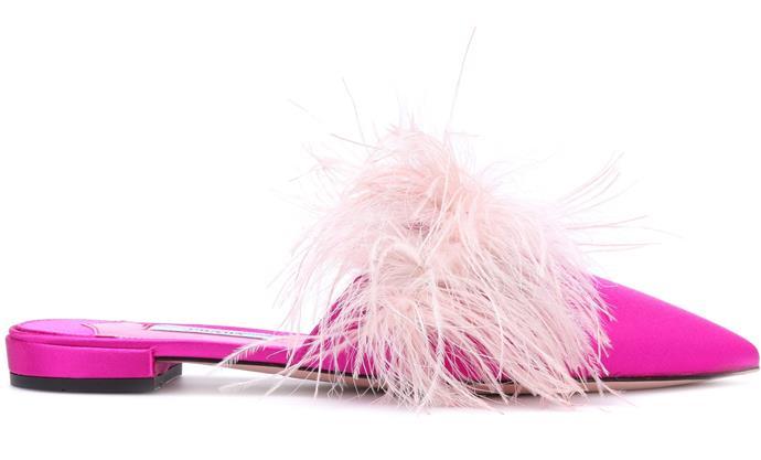 "Feather Trimmed Satin Slippers, $880, [MyTheresa](https://img.mytheresa.com/560/560/33/jpeg/catalog/product/9a/P00275837.jpg|target=""_blank""|rel=""nofollow"")"