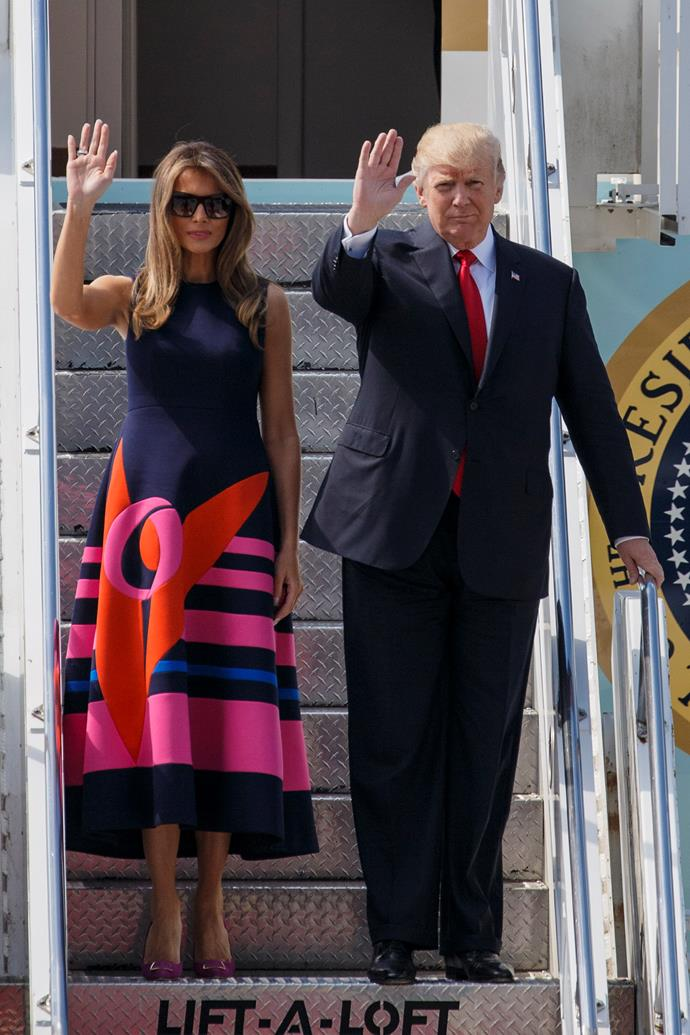Melania wore a graphic Delpozo dress to meet the President and First Lady of Poland.