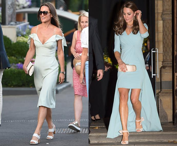 Ice-blue v-neck dress with cream strappy sandals wearing twins.