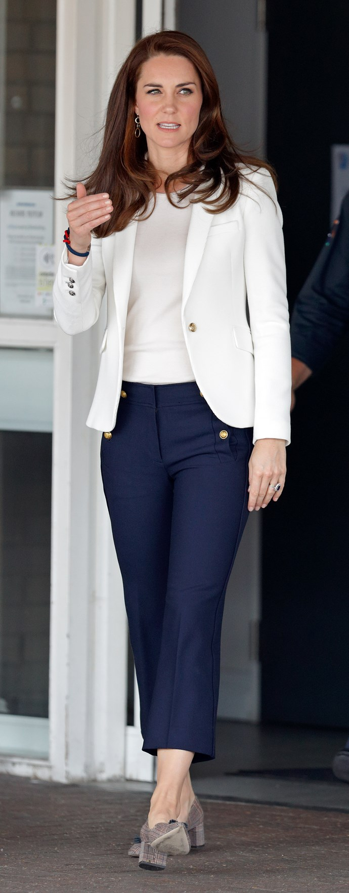 On 17 June 2017, Kate wore this Zara blazer paired with fitted J. Crew trousers and J. Crew tweed pumps for a chic nautical look.
