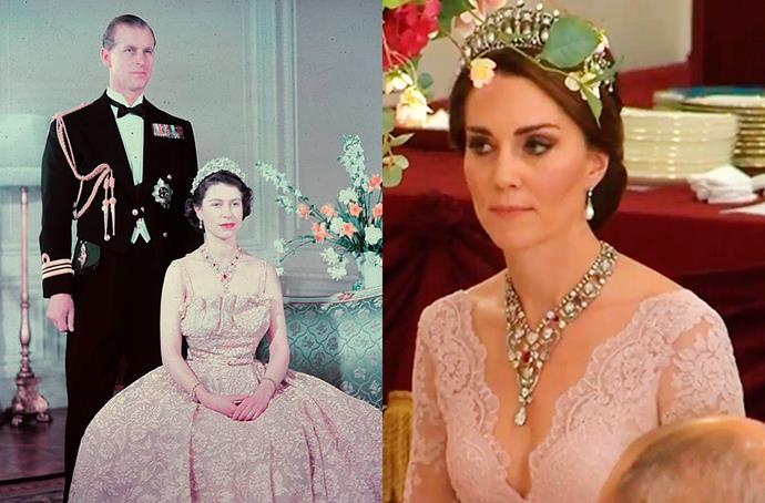 **Ruby and Diamond Floral Bandeau Necklace**<br><br> For the most recent state banquet with Spain, Kate borrowed the Ruby and Diamond Floral Bandeau Necklace from the Queen. The necklace was originally a wedding present to the Queen from her parents, King George VI and Queen Elizabeth, which Elizabeth wore frequently when she was younger. Sources speculate that the necklace has remained unworn for years due to the low necklines needed to showcase it.