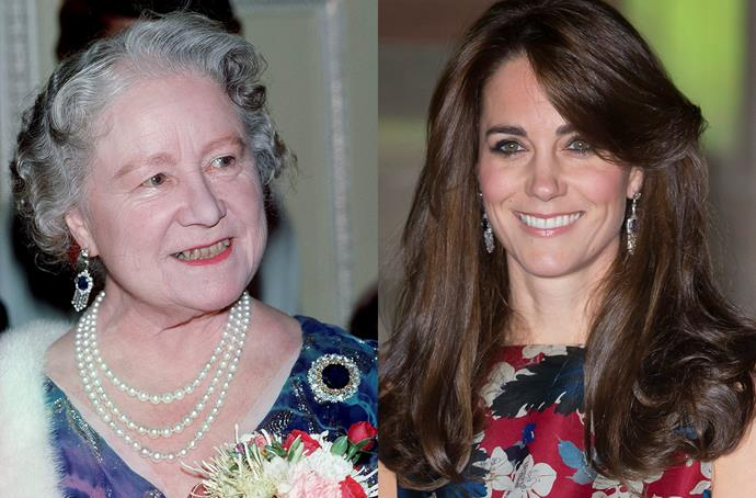 **The Queen Mother's Sapphire and Diamond Fringe Earrings**<br><br> For a recent museum appearance, Kate was loaned the late Queen Mother's sapphire and diamond earrings, which haven't been worn since her death in 2002.
