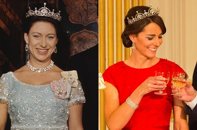**The Lotus Flower Tiara**<br><br> After her wedding tiara, the Lotus Flower Tiara (or the 'Papyrus Leaf Tiara') was the second-ever tiara loaned to Kate. The pearl-and-diamond tiara originally belonged to the Queen Mother, who passed it to Princess Margaret. Kate was the first royal family member to wear it following Princess Margaret's death.