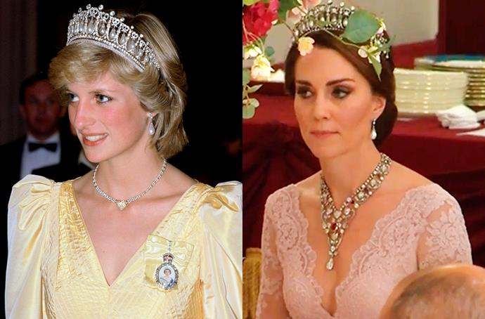 **The Cambridge Lover's Knot Tiara**<br><br> One of Princess Diana's favourite tiaras, the Cambridge Lover's Knot Tiara (sometimes called 'Queen Mary's Pearl Tiara') has been loaned to Kate twice—both for state banquets.