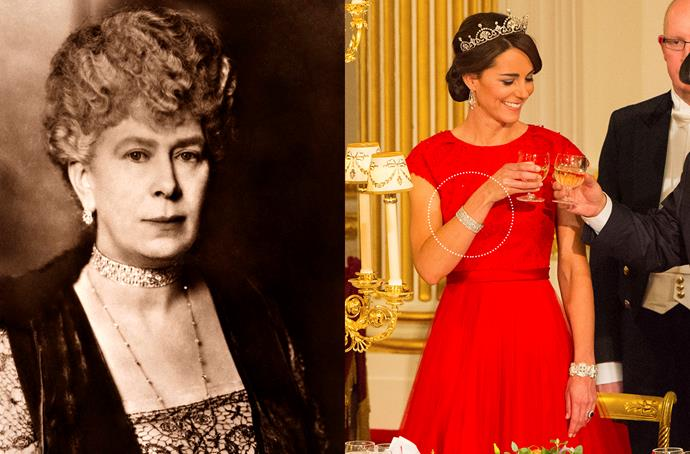 **Queen Mary's Diamond Bar Choker Bracelet**<br><br> Kate has also been loaned Queen Mary's (Queen Elizabeth's grandmother) diamond choker, which she has worn as a bracelet.