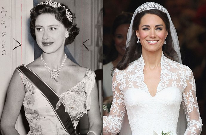 **The Cartier Halo Tiara**<br><br> The Cartier Halo Tiara (also sometimes called the 'Scroll Tiara' or 'Queen Elizabeth's Halo Tiara') was, of course, the tiara given to Kate to wear on her wedding day. The piece was given by King George VI to Queen Elizabeth before they ascended the throne, but the Queen Mother passed it to Queen Elizabeth on her 18th birthday (although she has never been seen wearing it). It was loaned out to both Princess Margaret and Princess Anne before Kate wore it in 2011. She hasn't worn it since.