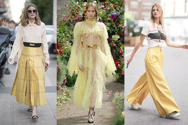 **Mellow Yellow** <br><br> Considering the current political climate, it's not surprising that we're suddenly being drawn to the ultimate colour of optimism—yellow. The vastly more flattering counterpart of sunflower yellow, this softer interpretation is best embraced in billowy, free-flowing silhouettes, like wide-leg pants or summer dresses.  <br><br> *Olivia Palermo, Rodarte Couture FW '18*