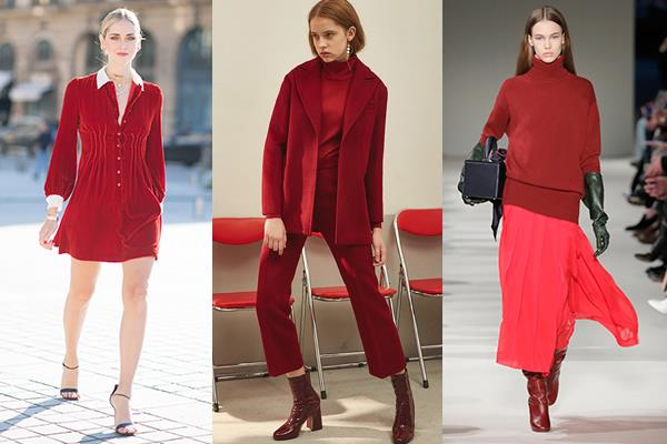 "**Deep Red** <br><br> Not only is the the colour [scientifically proven](http://www.elle.com.au/fashion/colour-to-wear-feel-more-attractive-13685|target=""_blank"") to make you more attractive, this deeper, moodier **red** can take you from office to date-night seamlessly. <br><br> *Chiara Ferragni, Genuine People AW '17, Victoria Beckham AW'18*"