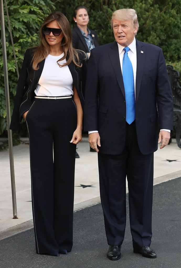 Melania and Donald trump leave the White House to fly to Paris.