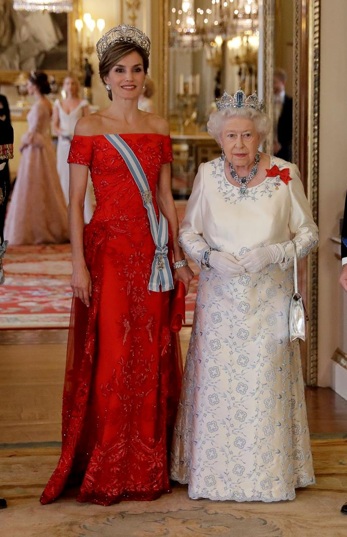 In a Felipe Varela with Queen Elizabeth at a State Banquet at Buckingham Palace.