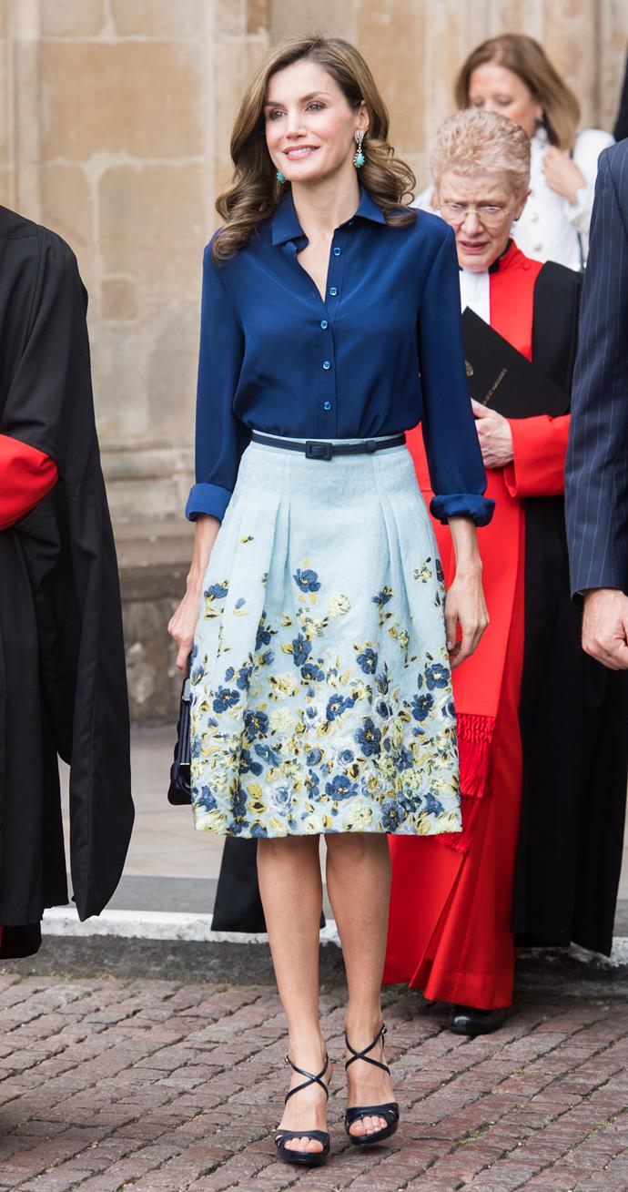 Arriving at Westminster Abbey during her royal tour of London.