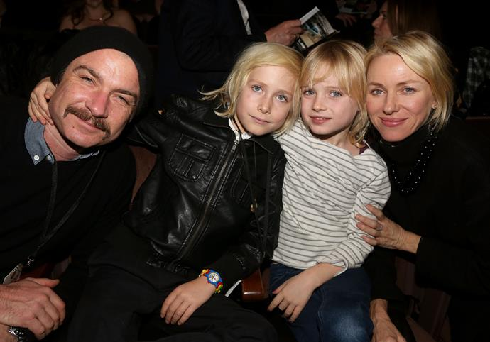 Naomi Watts with her ex-partner Liev Schreiber and their two children Samuel and Alexander.