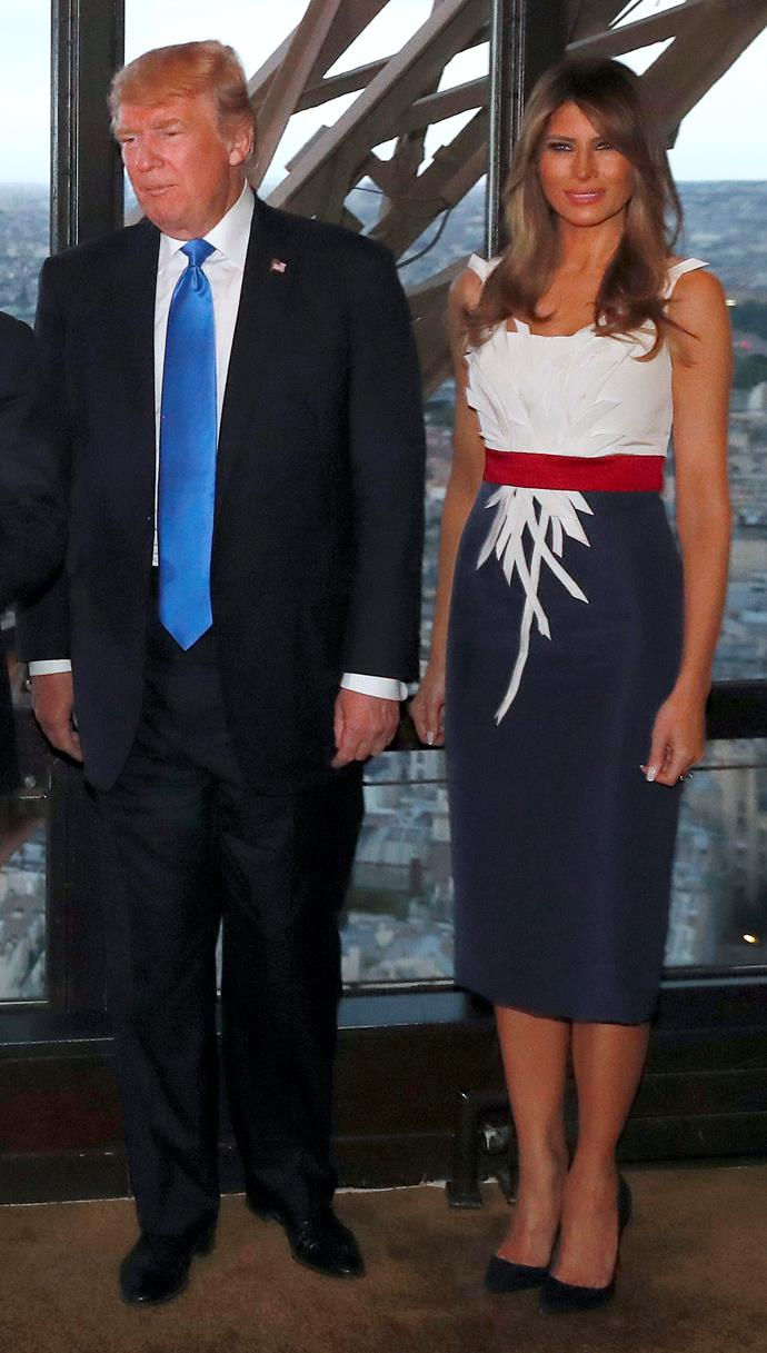 In Hervé Pierre at a dinner with husband Donald Trump and French President and First Lady Emmanuel and Brigitte Macron.